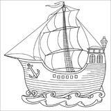 Contoured black white sailboat royalty free illustration