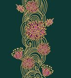 Contoured floral border composition in japanese style Royalty Free Stock Images