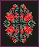 Contoured floral frame composition in turkish style Stock Images