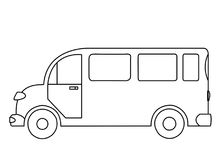 Outline drawing of a passenger bus on white background. The contoured silhouette of a passenger bus on white background Stock Photos