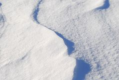 Contoured white snow background and texture. Fresh white snow background texture showing contours and shadows Royalty Free Stock Photos