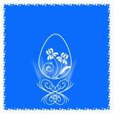 Contourei met een bloem binnen de tribune van krullen Royalty-vrije Stock Afbeeldingen