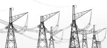 Contouren van hoogspannings elektrische torens royalty-vrije stock foto
