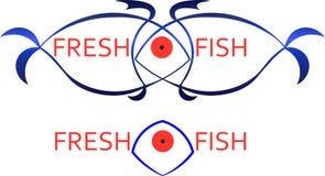 Contouren van vissen met het van bedrijfs inschrijvings verse vissen embleem Royalty-vrije Stock Afbeeldingen