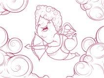 Contourillustratie van grappige cupido in de wolken Stock Foto
