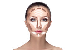 contouring Αποτελέστε το πρόσωπο γυναικών στοκ εικόνες με δικαίωμα ελεύθερης χρήσης