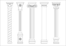 Contouring coloring of classical columns Royalty Free Stock Photography