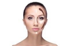contouring Maak omhoog vrouwengezicht stock afbeeldingen