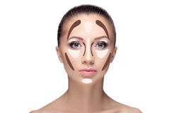 Contouring.Make up woman face. Royalty Free Stock Image