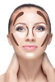 Contouring.Make up woman face. Royalty Free Stock Photo