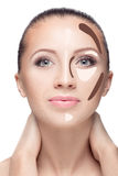 Contouring.Make up woman face. Stock Image