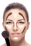 Contouring. Make up woman face. Stock Image