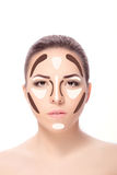 Contouring.Make up woman face. Stock Images