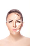 Contouring.Make up woman face. Royalty Free Stock Photography