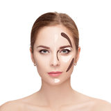 Contouring. Make up woman face on white background.  Professiona Stock Photos