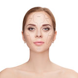 Contouring. Make up woman face on white background.  Professiona Royalty Free Stock Photo