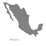 Contourkaart van Mexico op een wit Stock Afbeeldingen