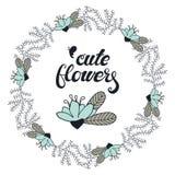 Contourkroon met leuk krabbel bloemenkader stock illustratie