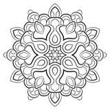Contourmandala voor kleurenboek Zwart-wit illustratie Symmetrisch patroon in een cirkel Een mooi beeld voor plakboek Te vector illustratie