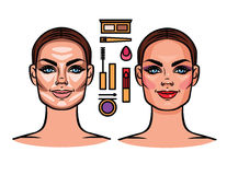 Contournant, maquillage, outils de maquillage Images stock