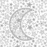 Contournez l'image du croissant de lune en ciel étoilé Zentangle a inspiré le style de griffonnage Composition carrée Illustration Stock