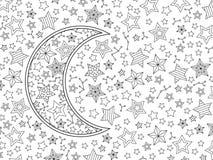 Contournez l'image du croissant et des étoiles de lune dans le style de griffonnage inspiré par zentangle Composition horizontale Illustration de Vecteur