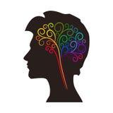 Contournez le dessin du cerveau au-dessus de la silhouette principale masculine illustration stock