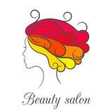 Contournez le logo coloré lumineux pour le salon de beauté avec le profil femelle illustration de vecteur