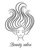 Contournez le logo pour le salon de beauté avec la femme avec les yeux et les cheveux fermés en vent illustration stock
