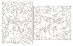 Contourreeks illustraties in de gebrandschilderd glasstijl, Kolibrie op een achtergrond van bloemen donker overzicht op een witte stock illustratie