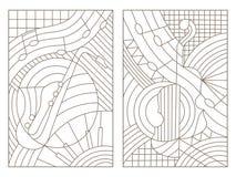 Contourreeks van gebrandschilderd glas met illustraties op het thema van muziek abstracte viool en saxofoon Stock Afbeeldingen