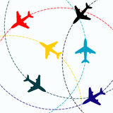 Contours of airplanes with lines Royalty Free Stock Images