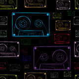 Contours of audio cassettes dark. Seamless texture with multi-colored contours of audio cassettes Stock Photos