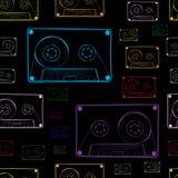 Contours of audio cassettes dark Stock Photos