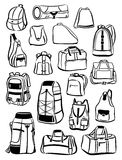 Contours of backpacks and bags Stock Photography