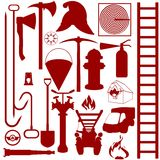 Contours of fire fighting equipment, tools and acc Stock Photos