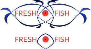 Contours of fish with the inscription fresh fish business logo. Contours of fish with the inscription fresh fish logo Royalty Free Stock Images