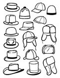 Contours of male hats. A set of contours of a male hats isolated on white background Stock Photos