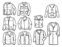 Contours of mens jackets. Set of contours of mens jackets isolated on white background Stock Photo