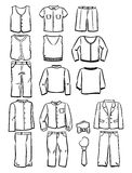 Contours school clothes for boys. Set of contours school clothes for boys isolated on white background Stock Photo