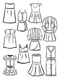 Contours school clothes for girls Stock Image