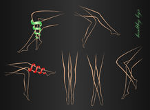 Contours of shapely female legs in various poses on a black background Royalty Free Stock Image