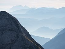 Contours of sharp mountains,  side by side increased from morning high humidity Stock Photography