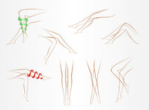 Contours of slender female legs in various poses on a light background Stock Photography