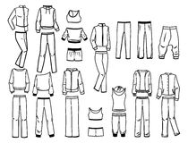 Contours of sportswear. Set of contours of female sportswear Royalty Free Stock Images