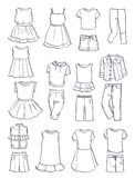Contours of summer clothes for girls Stock Image