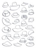 Contours of summer hats. Large number of styles, isolated on white background stock illustration