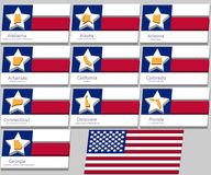 The contours of the ten States and the flag of the United States Stock Photos