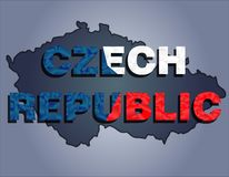 The contours of territory of Czech republic and Czech republic word in the colors of the national flag vector illustration