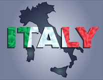 The contours of territory of Italy and Italy word in the colors of the national flag royalty free illustration